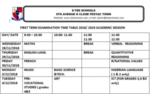 primary exam time table